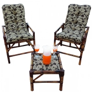 Kit Cadeiras de Bambu 2 Lugares com Almofadas Flor Marrom