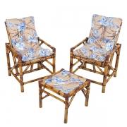 Kit Cadeiras de Bambu 2 Lugares com Almofadas Orquídea Azul
