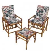 Kit Cadeiras de Bambu 2 Lugares com Almofadas Orquídea Marrom
