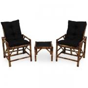 Kit Cadeiras de Bambu 2 Lugares com Almofadas Preta