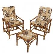 Kit Cadeiras de Bambu 2 Lugares com Almofadas Zenaide Marrom