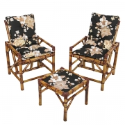Kit Cadeiras de Bambu 2 Lugares com Almofadas Zenaide Preto
