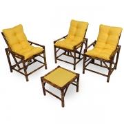 Kit Cadeiras de Bambu 3 Lugares com Almofadas Amarela