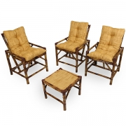 Kit Cadeiras de Bambu 3 Lugares com Almofadas Amarelo Mesclado