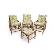 Kit Cadeiras de Bambu 3 Lugares com Almofadas Bambu Claro