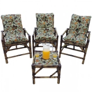 Kit Cadeiras de Bambu 3 Lugares com Almofadas Borboletas
