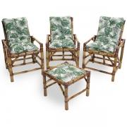 Kit Cadeiras de Bambu 3 Lugares com Almofadas Impermeáveis Folha