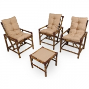 Kit Cadeiras de Bambu 3 Lugares com Almofadas Nude