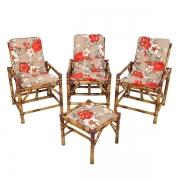 Kit Cadeiras de Bambu 3 Lugares com Almofadas Zenaide Vermelho