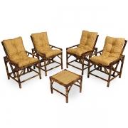 Kit Cadeiras de Bambu 4 Lugares com Almofadas Amarelo Mesclado