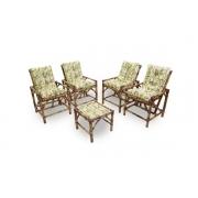 Kit Cadeiras de Bambu 4 Lugares com Almofadas Bambu Claro