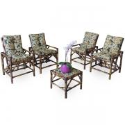 Kit Cadeiras de Bambu 4 Lugares com Almofadas Borboletas