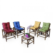 Kit Cadeiras de Bambu 4 Lugares com Almofadas Colorido