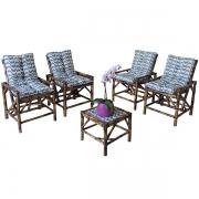 Kit Cadeiras de Bambu 4 Lugares com Almofadas Copacabana
