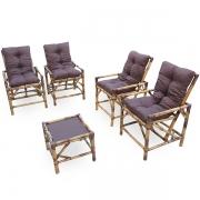 Kit Cadeiras de Bambu 4 Lugares com Almofadas Marrom