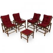 Kit Cadeiras de Bambu 4 Lugares com Almofadas Marsala