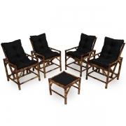 Kit Cadeiras de Bambu 4 Lugares com Almofadas Preta