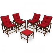 Kit Cadeiras de Bambu 4 Lugares com Almofadas Vermelha