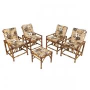 Kit Cadeiras de Bambu 4 Lugares com Almofadas Zenaide Marrom