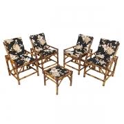 Kit Cadeiras de Bambu 4 Lugares com Almofadas Zenaide Preto