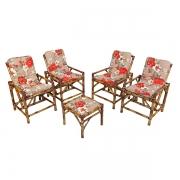 Kit Cadeiras de Bambu 4 Lugares com Almofadas Zenaide Vermelho