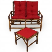 Kit Sofá de Bambu 2 Lugares com Almofadas Vermelha