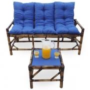Kit Sofá de Bambu 3 Lugares com Almofadas Azul