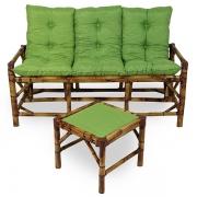 Kit Sofá de Bambu 3 Lugares com Almofadas Verde