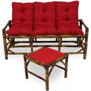 Kit Sofá de Bambu 3 Lugares com Almofadas Vermelha