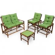 Kit Sofá de Bambu 4 Lugares com Almofadas Verde