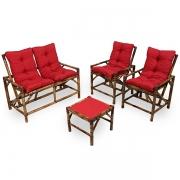 Kit Sofá de Bambu 4 Lugares com Almofadas Vermelha
