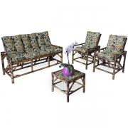 Kit Sofá e Cadeiras de Bambu 5L com Almofadas Borboletas