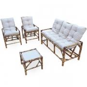 Kit Sofá e Cadeiras de Bambu 5L com Almofadas Cinza
