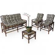 Kit Sofá e Cadeiras de Bambu 5L com Almofadas Flor Marrom