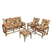 Kit Sofá e Cadeiras de Bambu 5L com Almofadas Flores Laranja