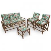 Kit Sofá e Cadeiras de Bambu 5L com Almofadas Impermeáveis Aruba