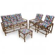 Kit Sofá e Cadeiras de Bambu 5L com Almofadas Impermeáveis Barça