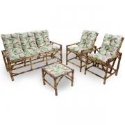 Kit Sofá e Cadeiras de Bambu 5L com Almofadas Impermeáveis Flor