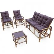 Kit Sofá e Cadeiras de Bambu 5L com Almofadas Marrom
