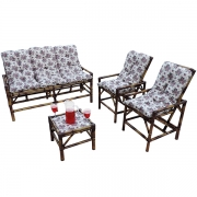 Kit Sofá e Cadeiras de Bambu 5L com Almofadas Mini Rosa