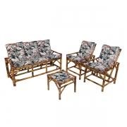 Kit Sofá e Cadeiras de Bambu 5L com Almofadas Orquídea Marrom