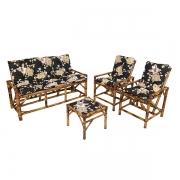 Kit Sofá e Cadeiras de Bambu 5L com Almofadas Zenaide Preto