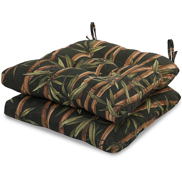 2 Almofadas para Assento de Cadeiras Bambu Escuro