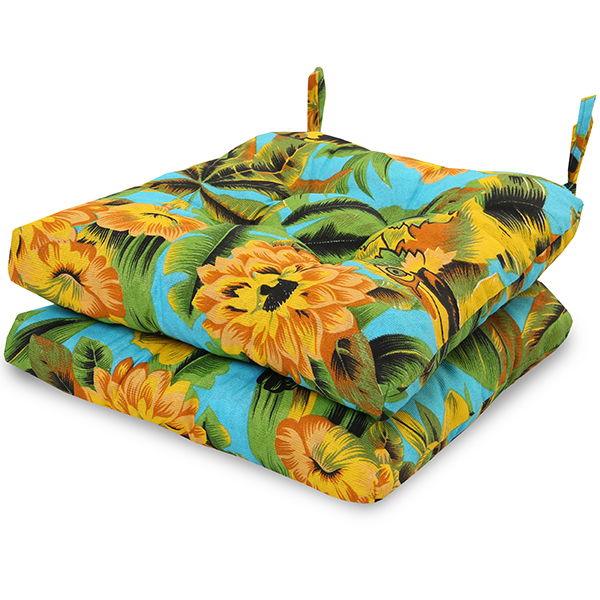2 Almofadas para Assento de Cadeiras Flor Amarela e Laranja