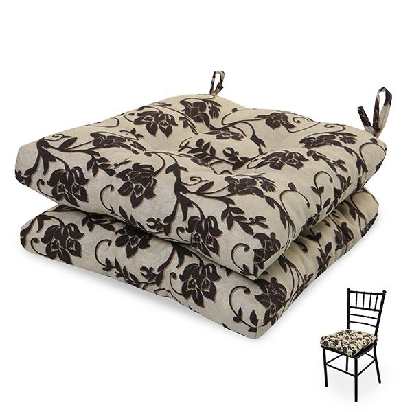 2 Almofadas para Assento de Cadeiras Flor Marrom