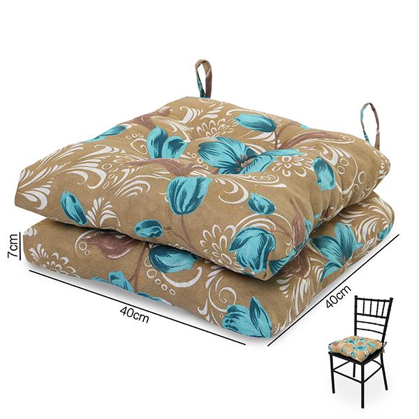 2 Almofadas para Assento de Cadeiras Lírio Azul