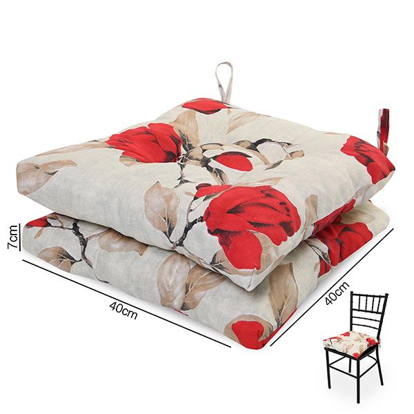 2 Almofadas para Assento de Cadeiras Lucélia Vermelha