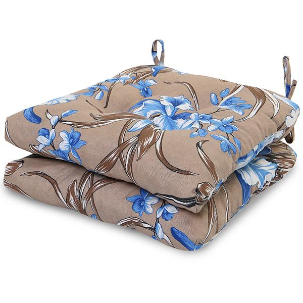 2 Almofadas para Assento de Cadeiras Orquídea Azul