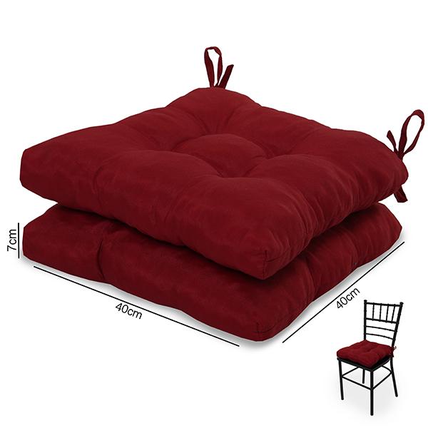 2 Almofadas para Assento de Cadeiras Vermelha