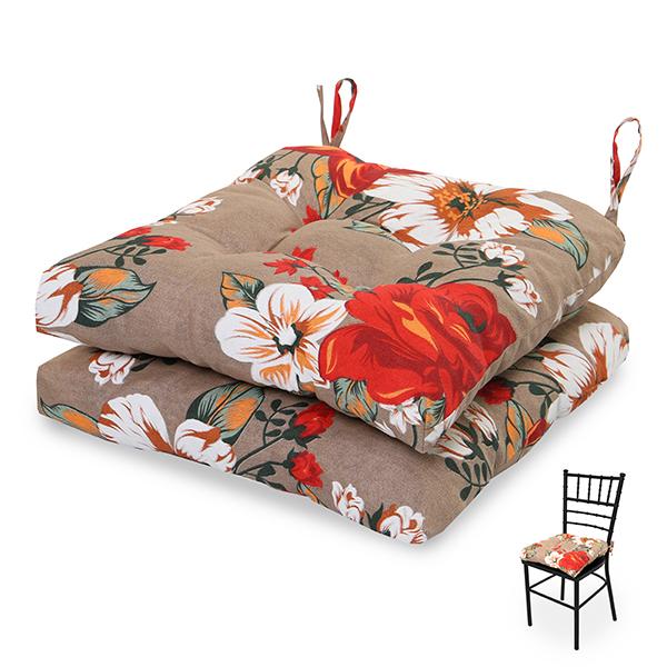 2 Almofadas para Assento de Cadeiras Zenaide Vermelha